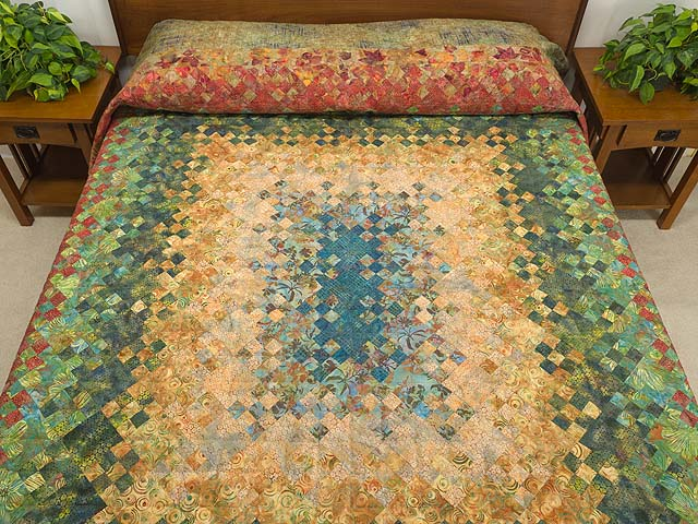 Golden Multicolor Blooming Nine Patch Quilt Photo 1