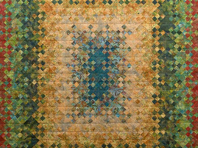 Golden Multicolor Blooming Nine Patch Quilt Photo 3