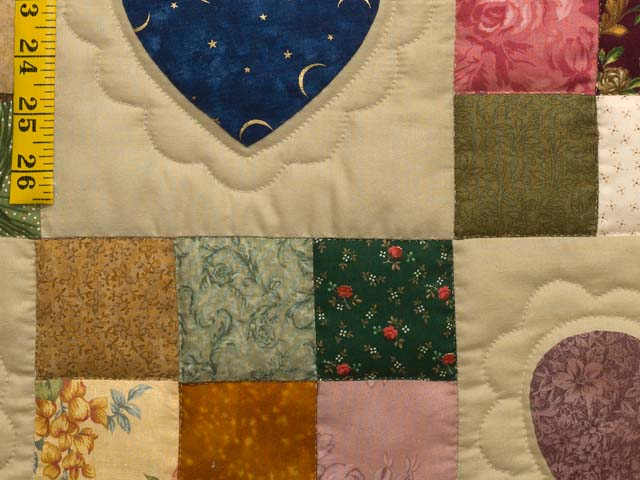 Navy and Multicolor Hearts and Nine Patch Quilt Photo 6