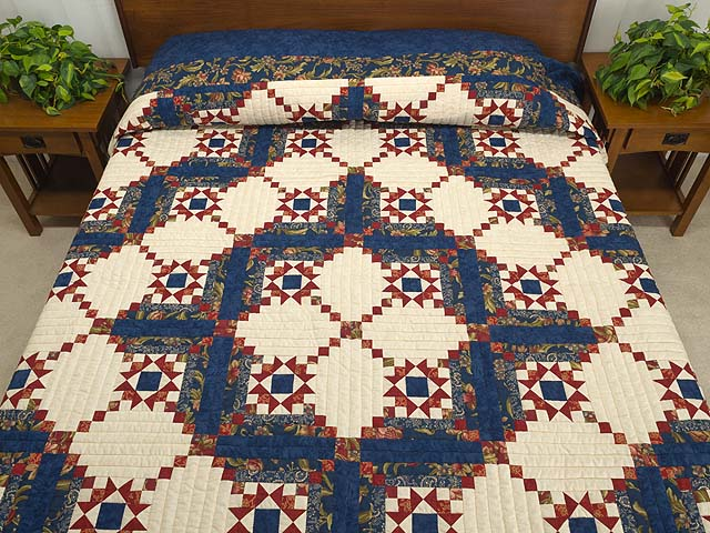 Blue Rust and Ivory Star in the Cabin Quilt Photo 1