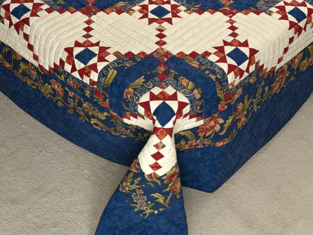 Blue Rust and Ivory Star in the Cabin Quilt Photo 7