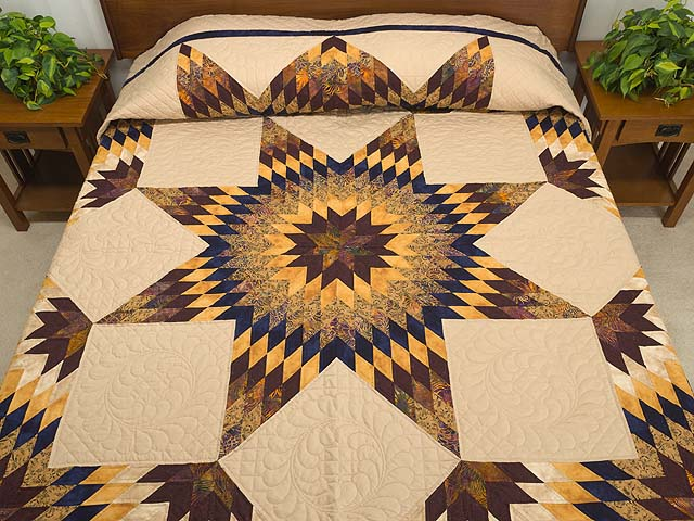 King Bronze Gold and Navy Broken Star Quilt Photo 1
