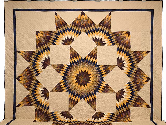 King Bronze Gold and Navy Broken Star Quilt Photo 2