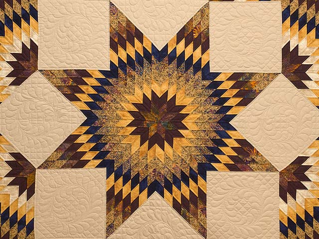 King Bronze Gold and Navy Broken Star Quilt Photo 3