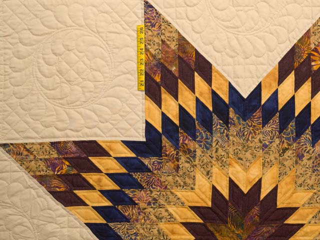 King Bronze Gold and Navy Broken Star Quilt Photo 4