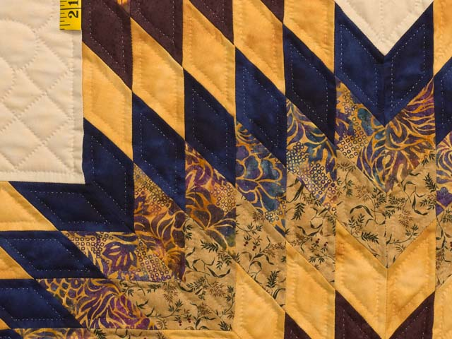 King Bronze Gold and Navy Broken Star Quilt Photo 6