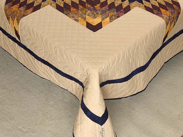 King Bronze Gold and Navy Broken Star Quilt Photo 7