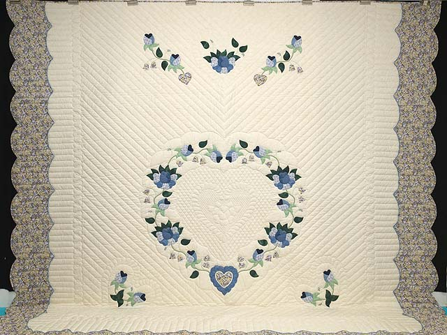 King Blue Violet and Yellow Heart of Roses Quilt Photo 2