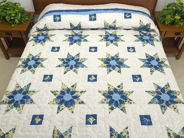 Blue Yellow And Cream Dahlia Star Quilt