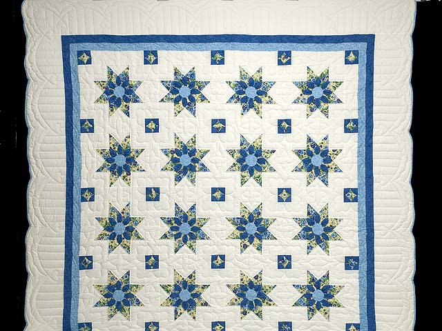 Blue Yellow and Cream Dahlia Star Quilt Photo 2