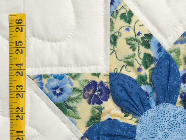 Blue Yellow and Cream Dahlia Star Quilt Photo 6