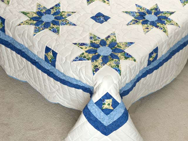 Blue Yellow and Cream Dahlia Star Quilt Photo 7