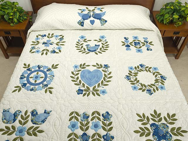 Blue and Green Applique Album Sampler Quilt Photo 1