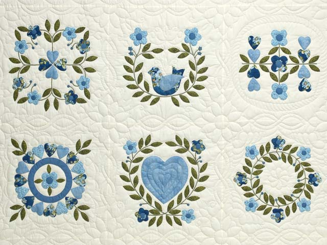 Blue and Green Applique Album Sampler Quilt Photo 3