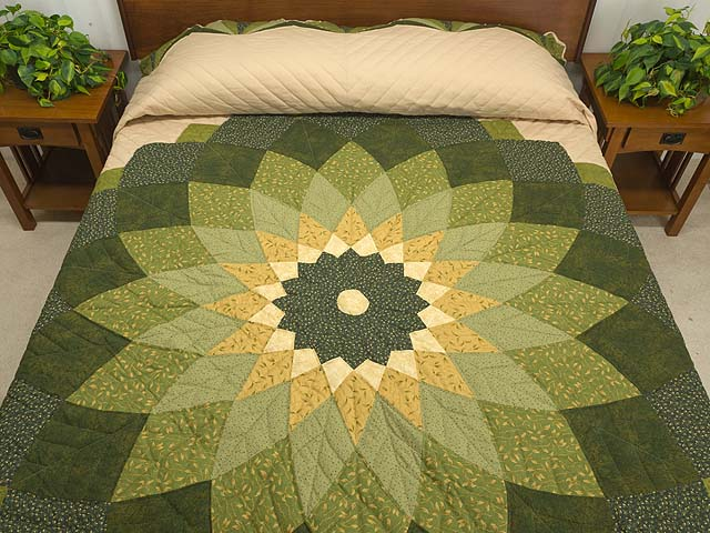 Green And Tan Giant Dahlia Quilt