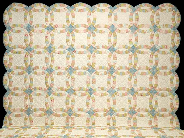 King Antique Pastels Double Wedding Ring Quilt Photo 2