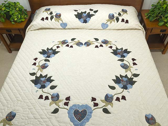 Blue and Cream Heart of Roses Quilt Photo 1