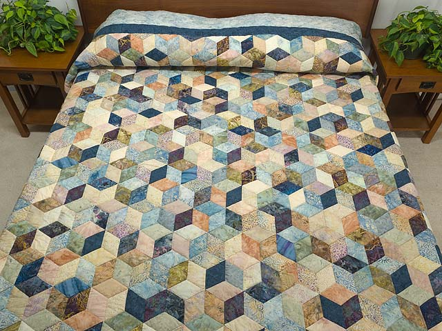 King Pastel Blue Navy and Gold Hand Painted Tumbling Blocks Quilt Photo 1