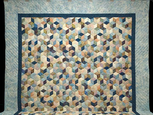 King Pastel Blue Navy and Gold Hand Painted Tumbling Blocks Quilt Photo 2