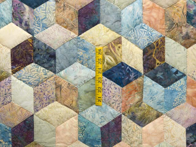 King Pastel Blue Navy and Gold Hand Painted Tumbling Blocks Quilt Photo 4
