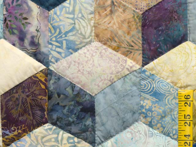 King Pastel Blue Navy and Gold Hand Painted Tumbling Blocks Quilt Photo 5