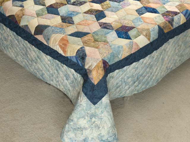 King Pastel Blue Navy and Gold Hand Painted Tumbling Blocks Quilt Photo 7