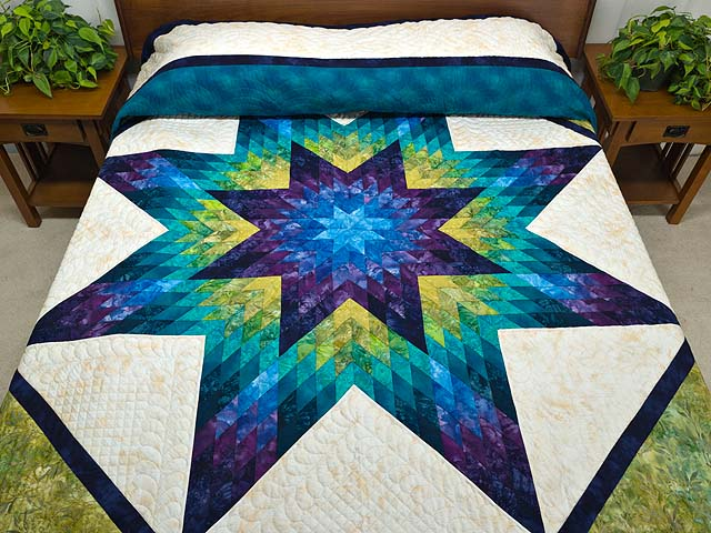 King Blue Plum and Moss Rachel Lone Star Quilt Photo 1