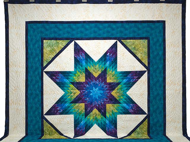King Blue Plum and Moss Rachel Lone Star Quilt Photo 2