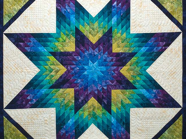 King Blue Plum and Moss Rachel Lone Star Quilt Photo 3