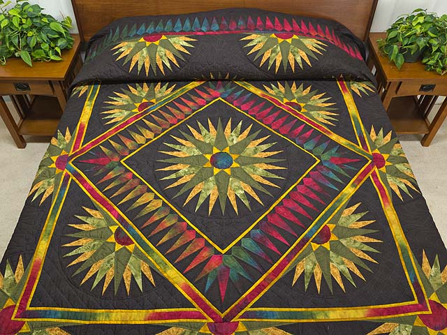 King Gold Red Moss and Black Compass Reflections Quilt Photo 1