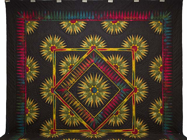 King Gold Red Moss and Black Compass Reflections Quilt Photo 2