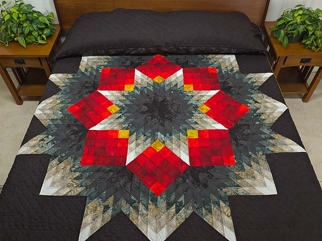 Black Red and Pewter Tumbling Star Quilt Photo 1
