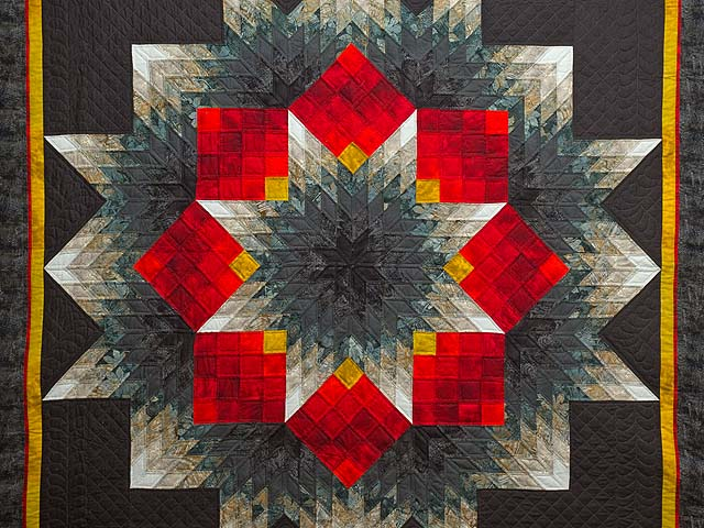 Black Red and Pewter Tumbling Star Quilt Photo 3