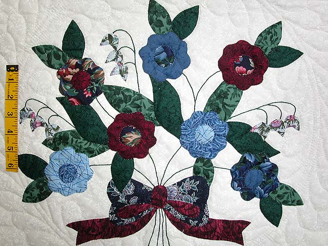 Blue and Burgundy Rose of Sharon Quilt Photo 4