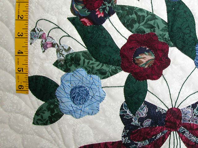 Blue and Burgundy Rose of Sharon Quilt Photo 5