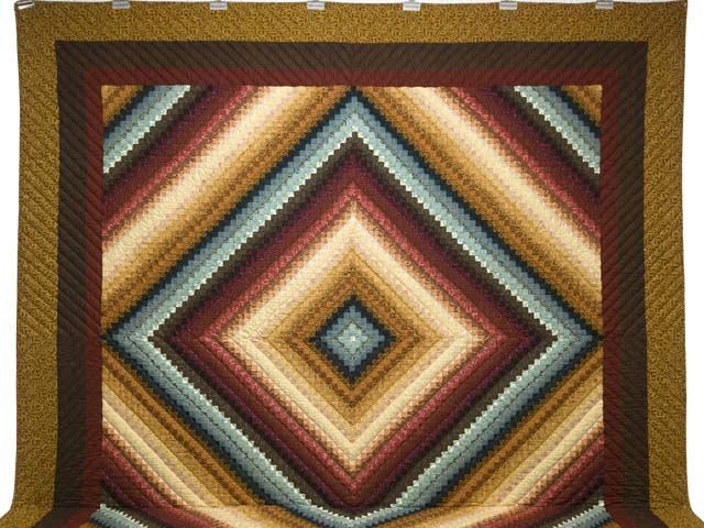 King Gold Burgundy and Teal Postage Stamp Color Splash Quilt Photo 2