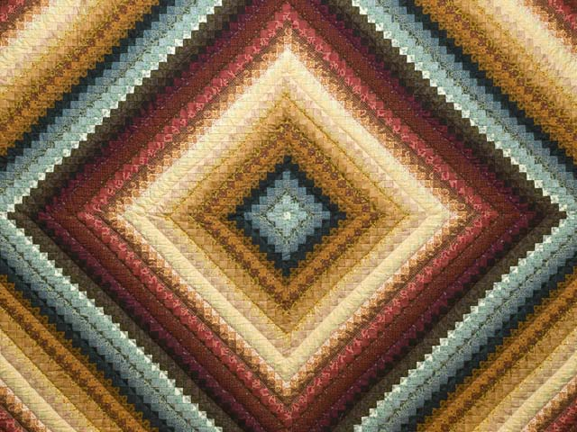 King Gold Burgundy and Teal Postage Stamp Color Splash Quilt Photo 3