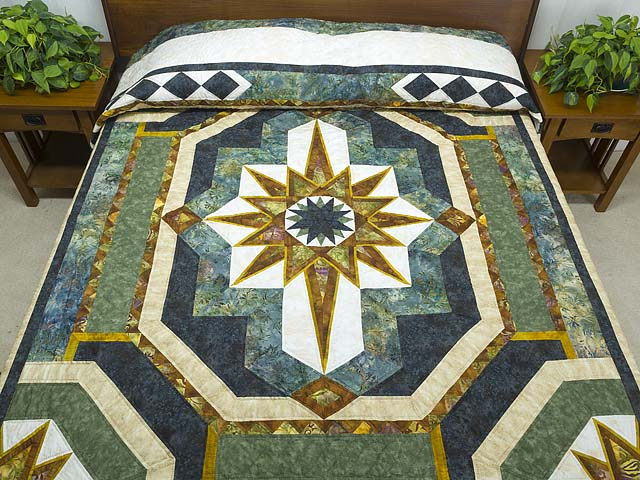 King Teal Navy and Gold Medallion Star Quilt Photo 1