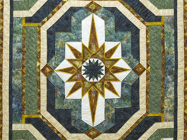 King Teal Navy and Gold Medallion Star Quilt Photo 3