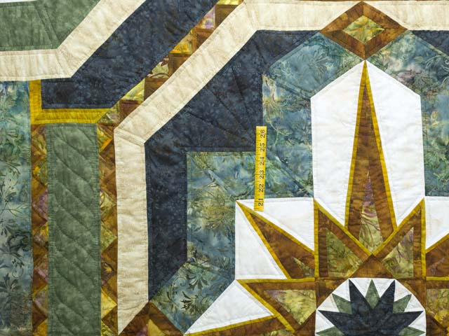 King Teal Navy and Gold Medallion Star Quilt Photo 4