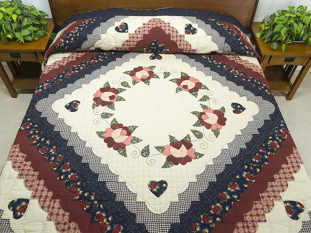 Navy and Burgundy Hearts All-Around Quilt Photo 1