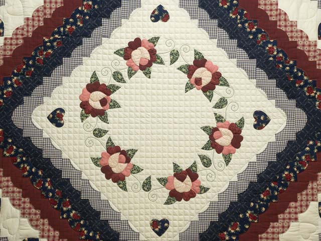 Navy and Burgundy Hearts All-Around Quilt Photo 3