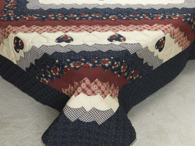 Navy and Burgundy Hearts All-Around Quilt Photo 7