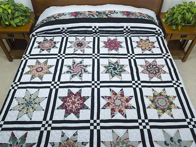 Black and Multicolor Stack and Whack Stars Quilt Photo 1