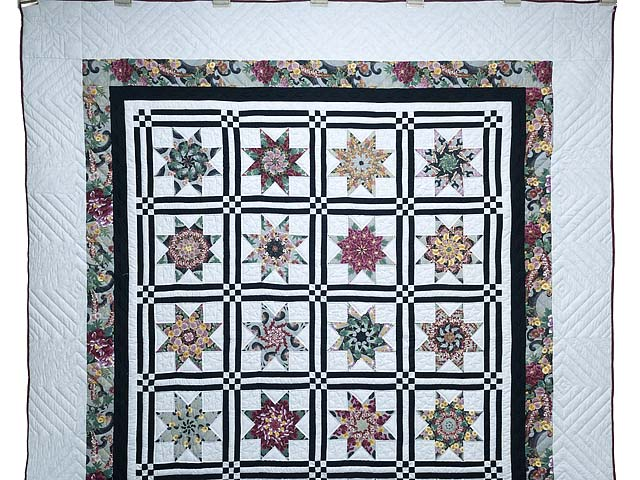 Black and Multicolor Stack and Whack Stars Quilt Photo 2