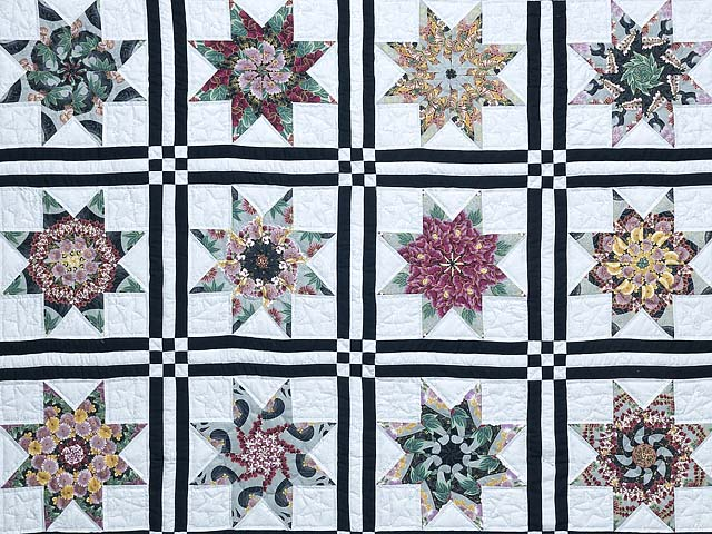 Black and Multicolor Stack and Whack Stars Quilt Photo 3