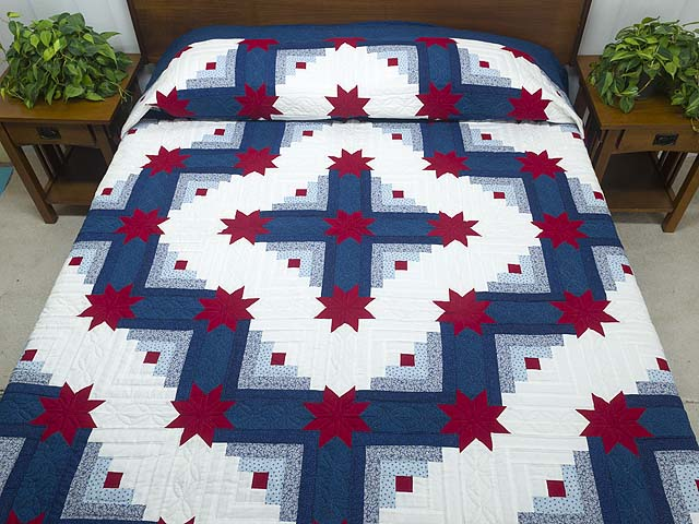 Red White and Blue Colorado Log Cabin Quilt Photo 1