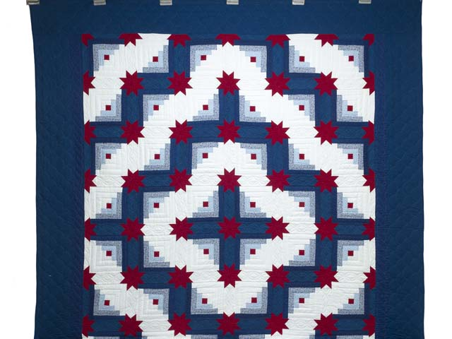 Red White and Blue Colorado Log Cabin Quilt Photo 2