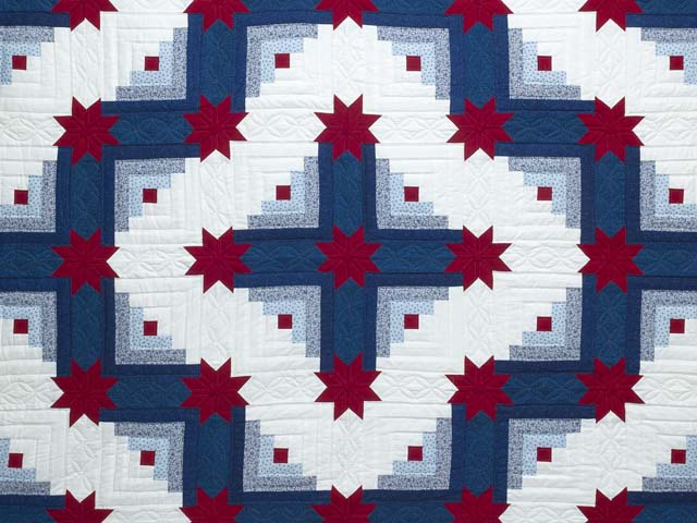 Red White and Blue Colorado Log Cabin Quilt Photo 3