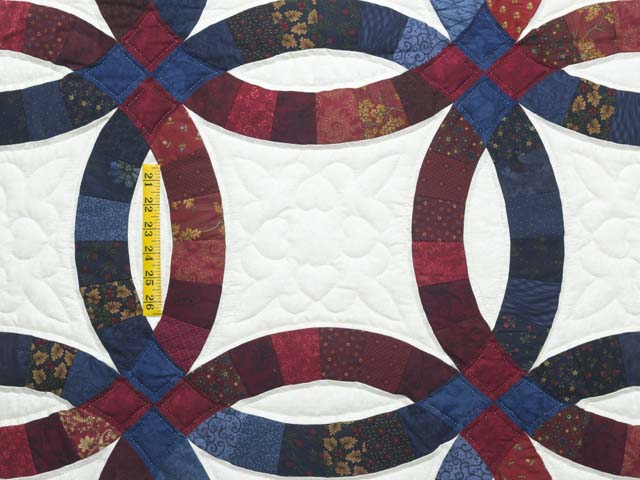 King Navy and Red Double Wedding Ring Quilt Photo 4